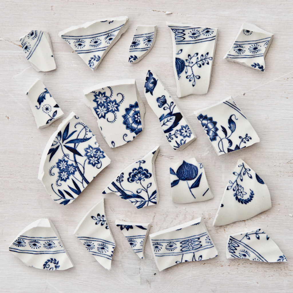 Blue and White Mosaic Pieces - 0.5 lbs