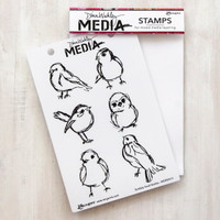 Dina Wakley Media Scribbly Birdies Stamp Set