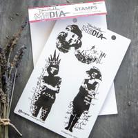 Dina Wakley Media Collaged Girls Stamp Set
