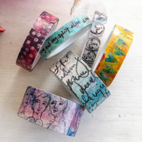 Dina Wakley Media Assorted Washi Tape — Collage Faces