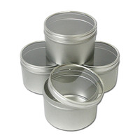 Clear Top Round Tins 8 oz - Set of 4