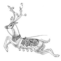 Blitzen - Small Wood Mounted Stamp by Classic Stampington & Company