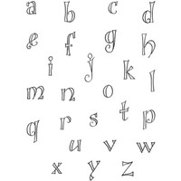 Fanciful Outline Lowercase Alphabet Clearly Impressed Stamp Set by Susan Houseman