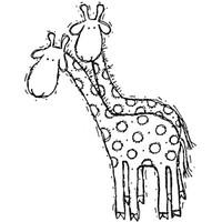 Giraffe — Small Wood Mounted Stamp by Karen Foster