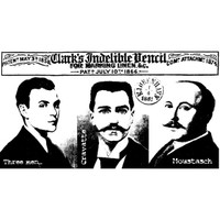 Three Men Wood Mounted Stamp by Carin Andersson