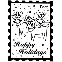 Holiday Post - Small Wood Mounted Stamp by Classic Stampington & Company