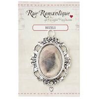 Rue Romantique Oval Open Floral Bezel — Large — Silver Tone