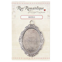 Rue Romantique Solid Frame with Large Oval Bezel - Silver Tone