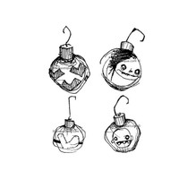 Stampotique Wood Mounted Rubber Stamp - Christmas Ornaments Cube
