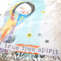 True Free Spirit Girl & Bird Canvas Tote Bags Project by Mindy Lacefield
