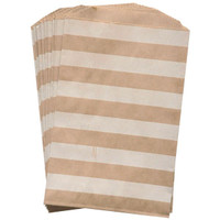 Stripes White on Kraft Middy Bitty Bags