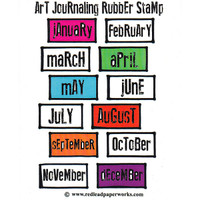 Red Lead Art Journaling Cling Mount Rubber Stamp — Every Month of the Year