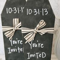 Halloween Chalkboard Coffin Invitation Project