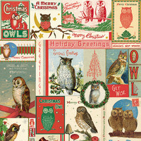 Cavallini & Co. Decorative Wrap -  Christmas Owls
