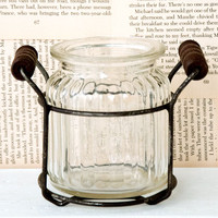 Glass Jar with Wire Holder — Short