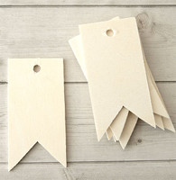 Wood Tags - Pennant Ribbon