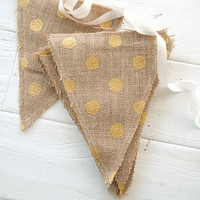 Handmade by Somerset Fabric Banner – Burlap with Gold Polka Dots 7 x 8.5