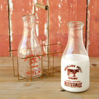 Vintage Milk Bottles with Carrier