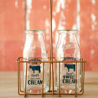 Vintage Cream Bottles with Carrier