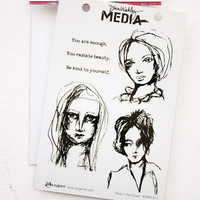 Ranger Ink Dina Wakley Media Cling Stamps - Face in the Crowd