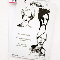 Ranger Ink Dina Wakley Media Cling Stamps - Scribbly Women