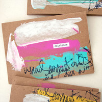 Paint Smeared Greeting Cards Project