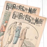 French Flea Market Le Petit Echo de la Mode Two Pages Paper Bundle