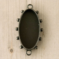 Ice Resin Mixed Metal Hobnail Oval Medium Silver