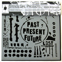 Stencil Girl Past Present Future Stencil by Seth Apter - 6 x 6