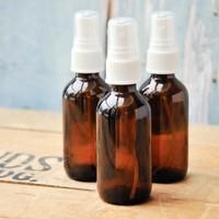 Amber Boston Round Glass Bottle with White Atomizer — Kit of 3
