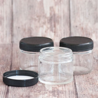 Clear Glass Jar 2 oz w/ Black Lid — Kit of 3