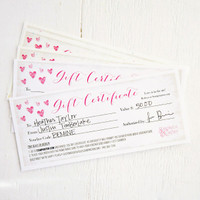 Gift Certificate — Valentine's Theme