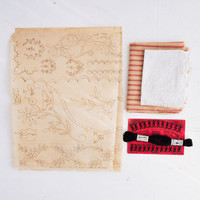 French Flea Market Notions, Antique Fabric, and Tissue Pattern