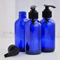 Cobalt Blue Boston Round Glass Bottle 4oz w/ Black Pump — Kit of 3