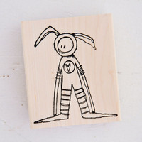 Stampotique Wood Mounted Rubber Stamp — Bunny Boy by Kate Crane