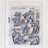 Stampers Anonymous Tim Holtz Cling Mount Stamp Set Crazy Cats