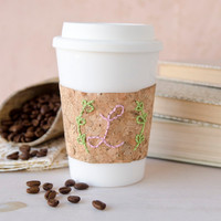 Embroidered Cork Coffee Cup Cozy Project