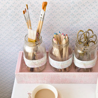 Shabby Chic Desk Décor Part 2: Desktop Storage with Mason Jars