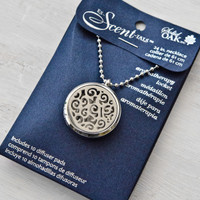 Aromatherapy Round Locket with Abstract Design