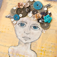Good Thoughts Girl Mixed-Media Canvas