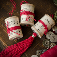 Spools and Corks Christmas Ornaments