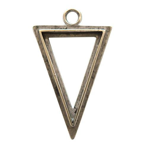 Ice Resin Large Raised Triangle Bezel Silver