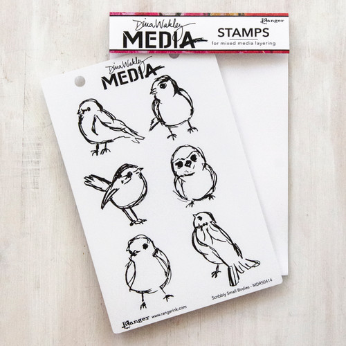 Dina Wakley Media Scribbly Birdies Stamp Set