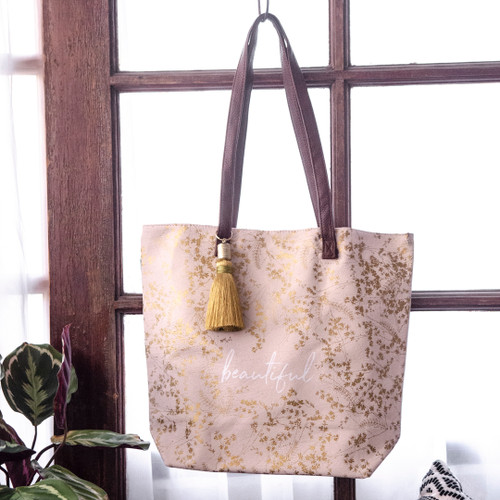 Quartz Gilded Flowers Bucket Tote by Papaya Art