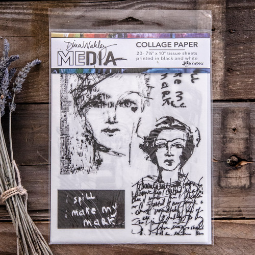 Dina Wakley Media Collage Paper Vintage Sketches