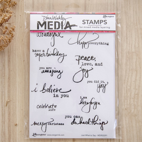 Ranger Ink Dina Wakley Media Cling Stamps Just What to Say