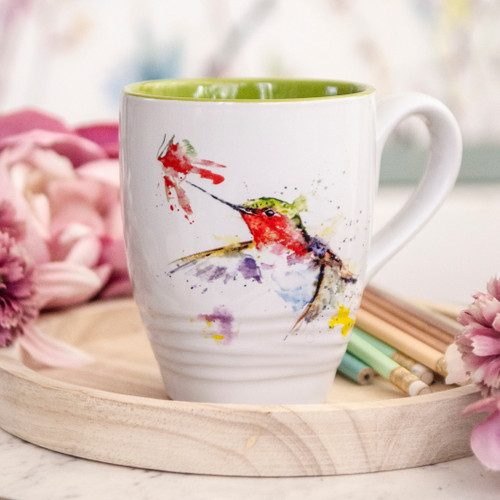 Hummingbird and Flower Mug