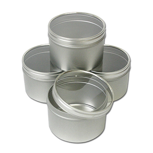 Clear Top Round Tins 8 oz — Set of 4