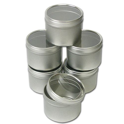 Clear Top Round Tins 4 oz —  Set of 6