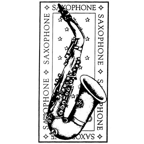 Saxaphone — Small Wood Mounted Stamp by Classic Stampington & Company